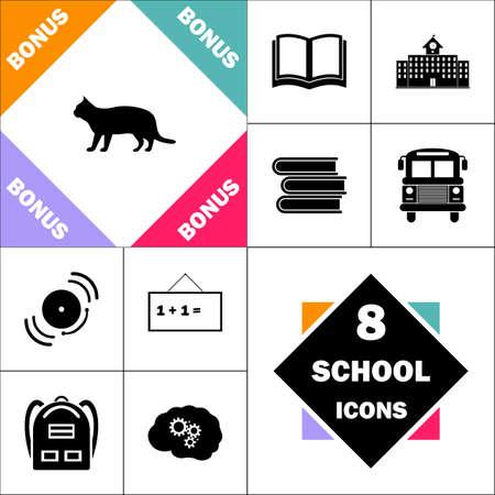 Icône pussycat et pictogramme Set Perfect Back to School. Contient des icônes telles que: manuel scolaire, bâtiment scolaire, autobus scolaire, manuels scolaires, cloche, tableau noir, sac à dos étudiant, Brain Learn Banque d'images - 84936371