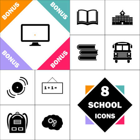 Monoblock PC Icon and Set Perfect Back to School pictogram. Contains such Icons as Schoolbook, School  Building, School Bus, Textbooks, Bell, Blackboard, Student Backpack, Brain Learn