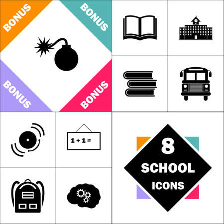 cartoon bomb: Bomb Icon and Set Perfect Back to School pictogram. Contains such Icons as Schoolbook, School  Building, School Bus, Textbooks, Bell, Blackboard, Student Backpack, Brain Learn Illustration