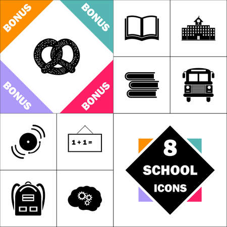 pretzel: Pretzel Icon and Set Perfect Back to School pictogram. Contains such Icons as Schoolbook, School  Building, School Bus, Textbooks, Bell, Blackboard, Student Backpack, Brain Learn