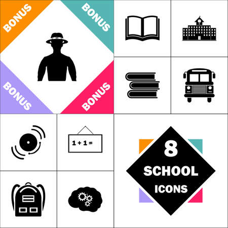 macho Icon and Set Perfect Back to School pictogram. Contains such Icons as Schoolbook, School  Building, School Bus, Textbooks, Bell, Blackboard, Student Backpack, Brain Learn