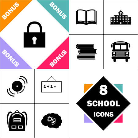 lock pad Icon and Set Perfect Back to School pictogram. Contains such Icons as Schoolbook, School  Building, School Bus, Textbooks, Bell, Blackboard, Student Backpack, Brain Learn
