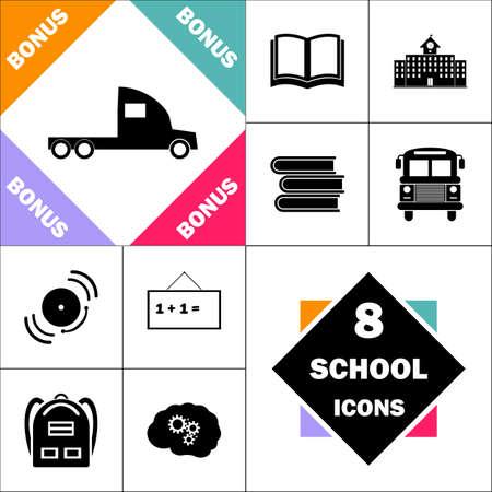 icône de camion de fret et définir le pictogramme de retour à l'école parfaite. Contient des icônes telles que le livre scolaire, le bâtiment scolaire, le bus scolaire, les manuels, la cloche, le tableau noir, le sac à dos d'étudiant, le cerveau apprennent
