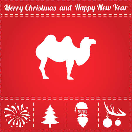 Camel Icon Vector. And bonus symbol for New Year - Santa Claus, Christmas Tree, Firework, Balls on deer antlers Illustration