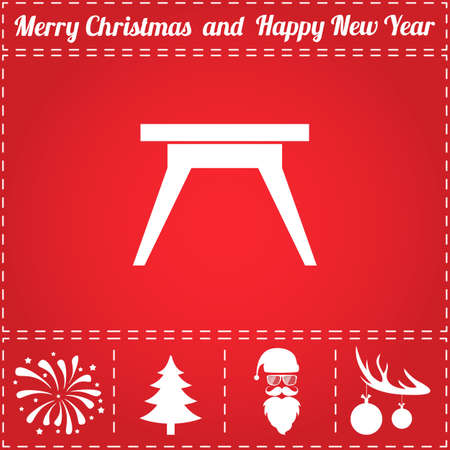 Camping table Icon Vector. And bonus symbol for New Year - Santa Claus, Christmas Tree, Firework, Balls on deer antlers