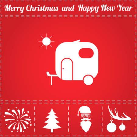 Trailer Icon Vector. And bonus symbol for New Year - Santa Claus, Christmas Tree, Firework, Balls on deer antlers