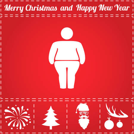 stocky: Fatso Icon Vector. And bonus symbol for New Year - Santa Claus, Christmas Tree, Firework, Balls on deer antlers