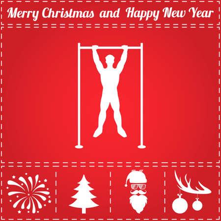 Pullups pictogram Vector. En bonussymbool voor Nieuwjaar - Santa Claus, Kerstboom, Vuurwerk, Ballen op hertengewei