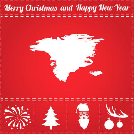 Alaska Icon Vector. And bonus symbol for New Year - Santa Claus, Christmas Tree, Firework, Balls on deer antlers  イラスト・ベクター素材