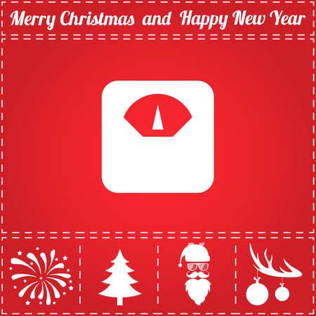 スケール アイコン ベクトル。鹿の角の新年 - サンタ クロース、クリスマス ツリー、花火、ボールのボーナス記号