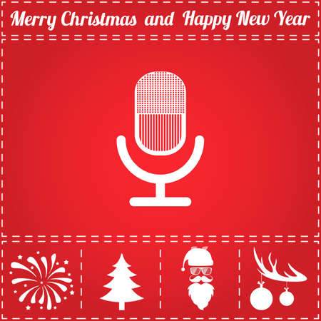 Microphone Icon Vector. And bonus symbol for New Year - Santa Claus, Christmas Tree, Firework, Balls on deer antlers Illustration