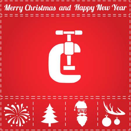 Grip Icon Vector. And bonus symbol for New Year - Santa Claus, Christmas Tree, Firework, Balls on deer antlers