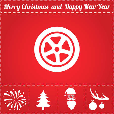 Wheel Icon Vector. And bonus symbol for New Year - Santa Claus, Christmas Tree, Firework, Balls on deer antlers