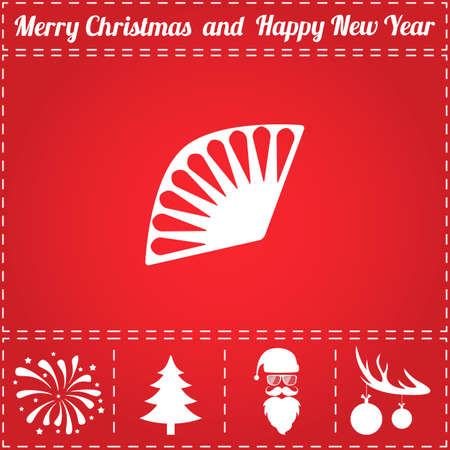 Fan Icon Vector. And bonus symbol for New Year - Santa Claus, Christmas Tree, Firework, Balls on deer antlers