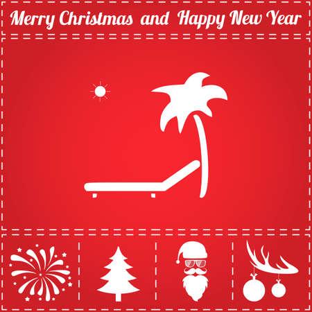 Beach Icon Vector. And bonus symbol for New Year - Santa Claus, Christmas Tree, Firework, Balls on deer antlers
