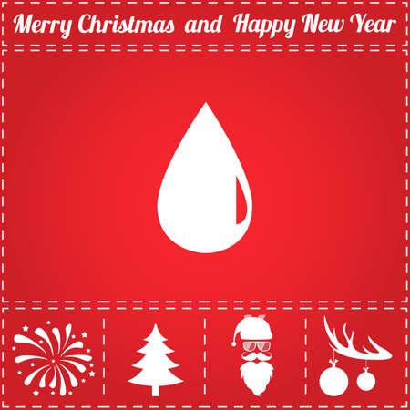 Drop Icon Vector. And bonus symbol for New Year - Santa Claus, Christmas Tree, Firework, Balls on deer antlers