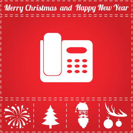 Phone Icon Vector. And bonus symbol for New Year - Santa Claus, Christmas Tree, Firework, Balls on deer antlers
