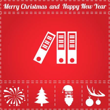 Folder Icon Vector. And bonus symbol for New Year - Santa Claus, Christmas Tree, Firework, Balls on deer antlers Illustration