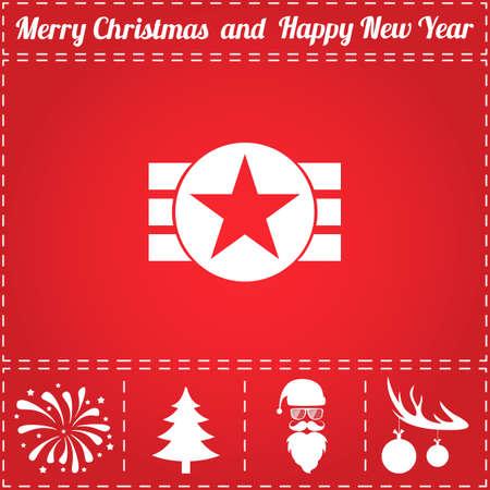 星のアイコン ベクトル。鹿の角の新年 - サンタ クロース、クリスマス ツリー、花火、ボールのボーナス記号  イラスト・ベクター素材