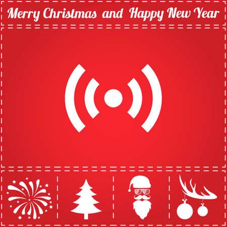 WiFi Icon Vector. And bonus symbol for New Year - Santa Claus, Christmas Tree, Firework, Balls on deer antlers Illustration