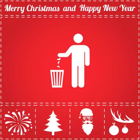 Vecteur d'icône bin. Et symbole de bonus pour le nouvel an - Père Noël, arbre de Noël, feu d'artifice, boules sur bois de cerf