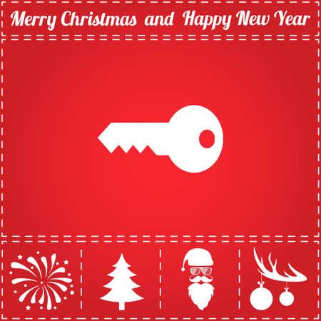 Key Icon Vector. And bonus symbol for New Year - Santa Claus, Christmas Tree, Firework, Balls on deer antlers