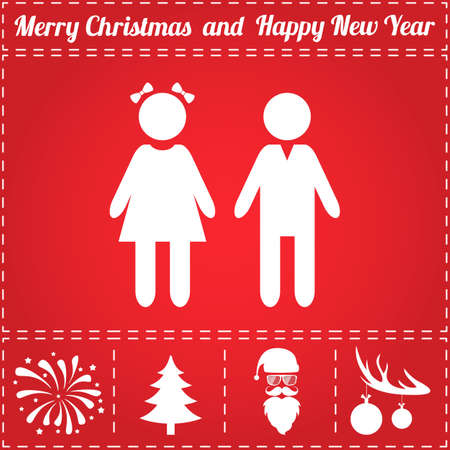Girl boy Icon Vector. And bonus symbol for New Year - Santa Claus, Christmas Tree, Firework, Balls on deer antlers