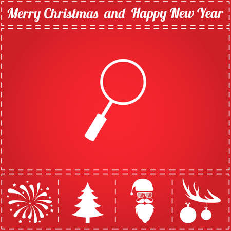 Research Icon Vector. And bonus symbol for New Year - Santa Claus, Christmas Tree, Firework, Balls on deer antlers