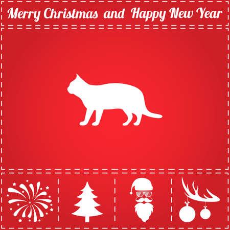 Vecteur d'icône de chat. Et symbole de bonus pour le nouvel an - Santa Claus, arbre de Noël, feu d'artifice, boules sur les bois de cerf Banque d'images - 90193690