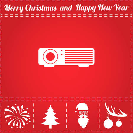 Projector Icon Vector. And bonus symbol for New Year - Santa Claus, Christmas Tree, Firework, Balls on deer antlers