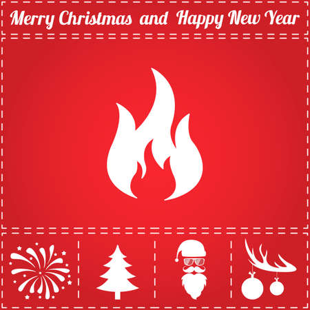 Fire Icon Vector. And bonus symbol for New Year - Santa Claus, Christmas Tree, Firework, Balls on deer antlers