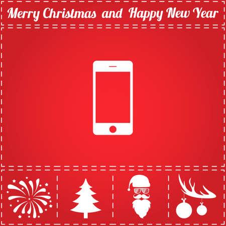 Smartphone Icon Vector. And bonus symbol for New Year - Santa Claus, Christmas Tree, Firework, Balls on deer antlers Illustration