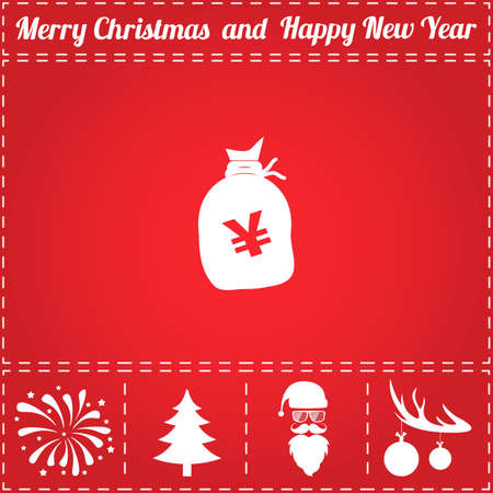 Yen JPY Icon Vector. And bonus symbol for New Year - Santa Claus, Christmas Tree, Firework, Balls on deer antlers Vectores