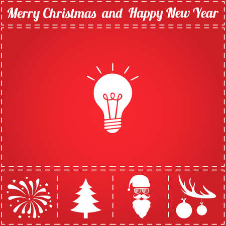 Light bulb Icon Vector. And bonus symbol for New Year - Santa Claus, Christmas Tree, Firework, Balls on deer antlers 일러스트