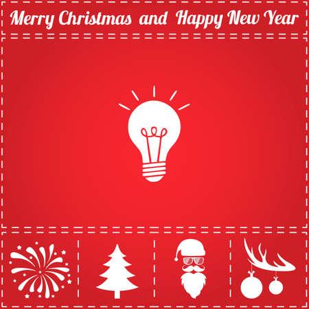 Light bulb Icon Vector. And bonus symbol for New Year - Santa Claus, Christmas Tree, Firework, Balls on deer antlers 向量圖像