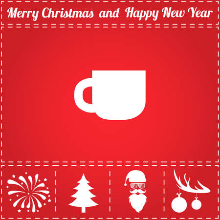 Tea Icon Vector. And bonus symbol for New Year - Santa Claus, Christmas Tree, Firework, Balls on deer antlers Illustration