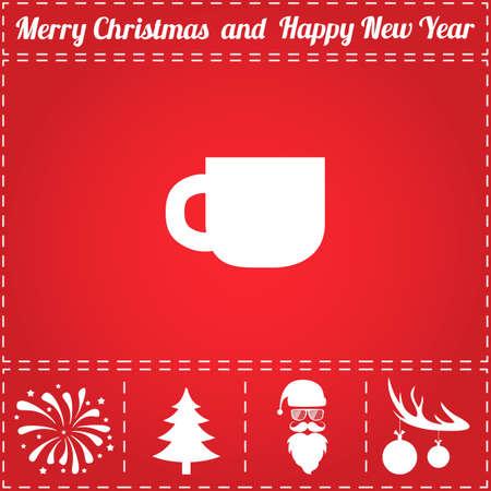 Tea Icon Vector. And bonus symbol for New Year - Santa Claus, Christmas Tree, Firework, Balls on deer antlers Illustration