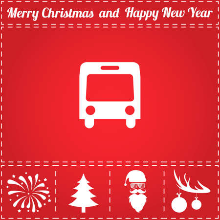 Bus Icon Vector. And bonus symbol for New Year - Santa Claus, Christmas Tree, Firework, Balls on deer antlers