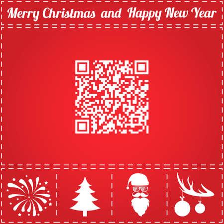 QR Icon Vector. And bonus symbol for New Year - Santa Claus, Christmas Tree, Firework, Balls on deer antlers