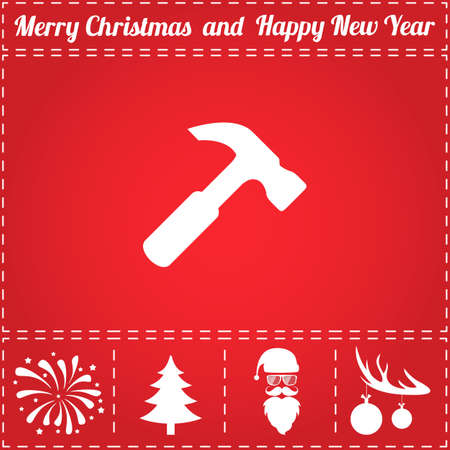 Hammer Icon Vector. And bonus symbol for New Year - Santa Claus, Christmas Tree, Firework, Balls on deer antlers Illusztráció
