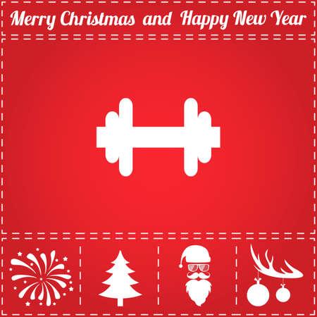 Dumbbell Icon Vector. En bonussymbool voor Nieuwjaar - Kerstman, kerstboom, vuurwerk, ballen op hertengeweien