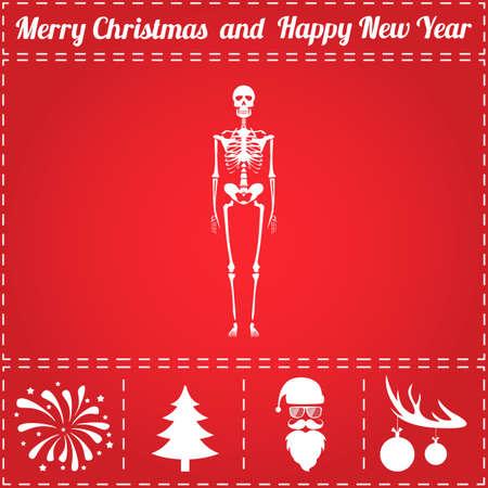 Anatomy Icon Vector. And bonus symbol for New Year - Santa Claus, Christmas Tree, Firework, Balls on deer antlers