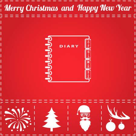 Diary Icon Vector. And bonus symbol for New Year - Santa Claus, Christmas Tree, Firework, Balls on deer antlers Stock Illustratie