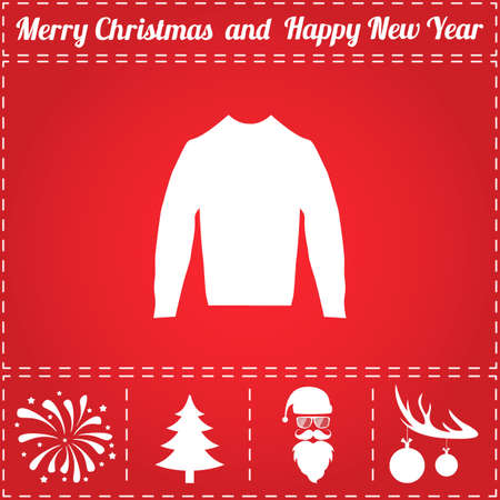 Blouse Icon Vector. And bonus symbol for New Year - Santa Claus, Christmas Tree, Firework, Balls on deer antlers