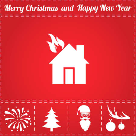 Home fire Icon Vector. And bonus symbol for New Year - Santa Claus, Christmas Tree, Firework, Balls on deer antlers