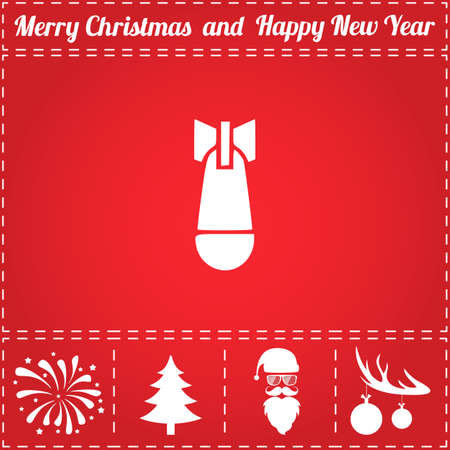Bomb Icon Vector. And bonus symbol for New Year - Santa Claus, Christmas Tree, Firework, Balls on deer antlers