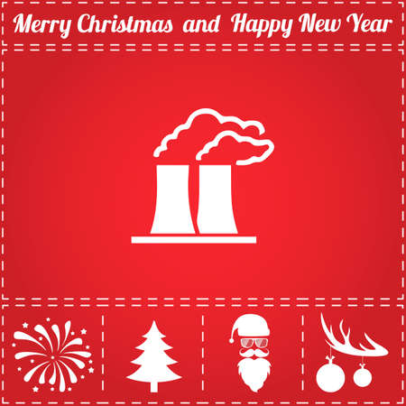 Factory Icon Vector. And bonus symbol for New Year - Santa Claus, Christmas Tree, Firework, Balls on deer antlers