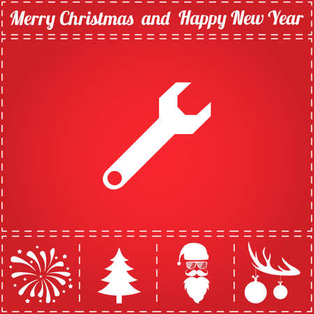 Wrench screw Icon Vector. And bonus symbol for New Year - Santa Claus, Christmas Tree, Firework, Balls on deer antlers