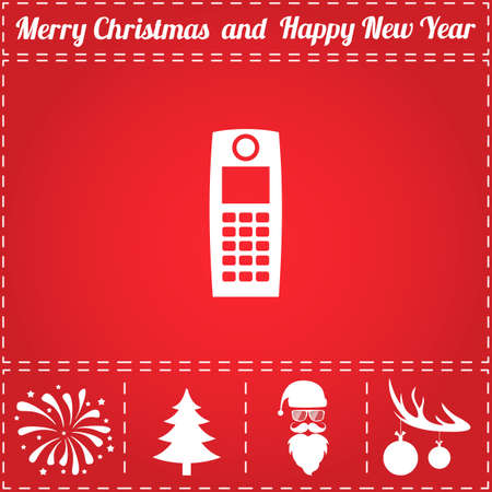 Phone Icon Vector. And bonus symbol for New Year - Santa Claus, Christmas Tree, Firework, Balls on deer antlers