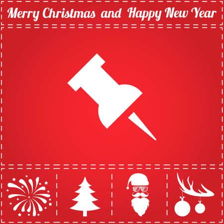 Pin Icon Vector. And bonus symbol for New Year - Santa Claus, Christmas Tree, Firework, Balls on deer antlers Ilustração